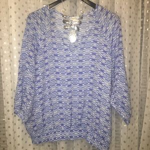 Kim Rogers blue and white print pop over top- 3X
